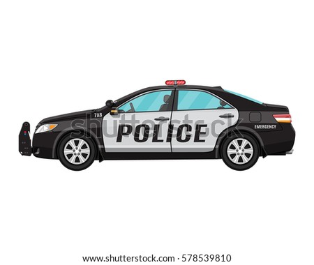 police car side view isolated on white. illustration