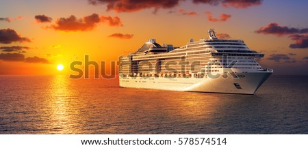Cruise At Sunset In Ocean  Royalty-Free Stock Photo #578574514