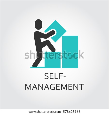 Vector icon of man builds a graph, self-management concept. Simple label. Logo drawn in flat style. Black and green shape pictograph for your design needs. Contour silhouette Royalty-Free Stock Photo #578628166