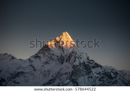 Amadablam peak at sunset in Khumbu valley in Nepal, Himalayas Royalty-Free Stock Photo #578644522