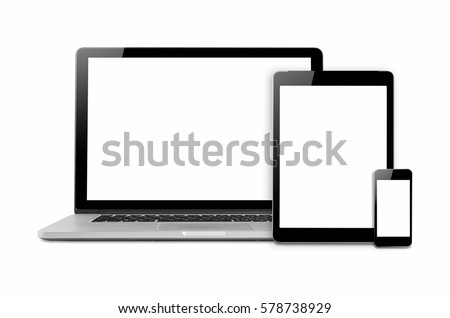 Laptops, tablets and mobile phones. Mock up image of electronic gadgets isolated on white background. #578738929