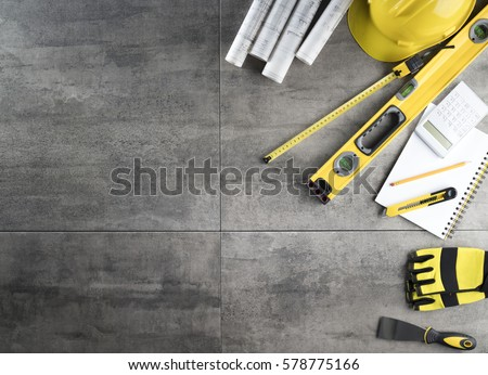 Contractor concept background. Top view. Place for typography. Royalty-Free Stock Photo #578775166