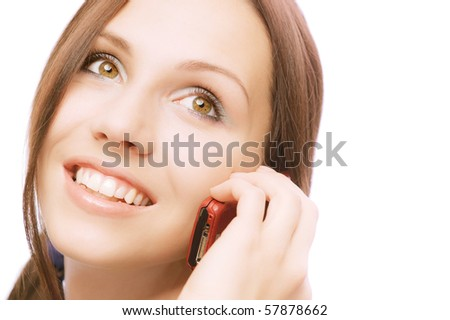 Charming girl speaks by phone, on white background. #57878662