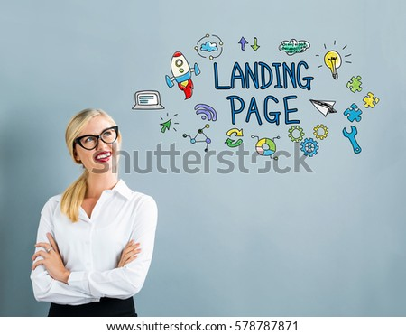 Landing Page text with business woman on a gray background #578787871