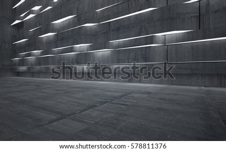 Empty dark abstract concrete room interior. Architectural background. Night view of the illuminated. 3D illustration and rendering #578811376