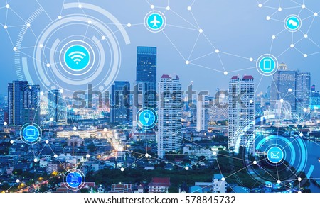 icons of wifi, internet, communication, travel, computer and kinds of technology for smart city conceptual