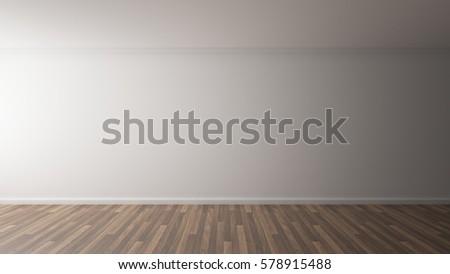 3D Rendering of white wall display vintage wood floor interior illustration #578915488