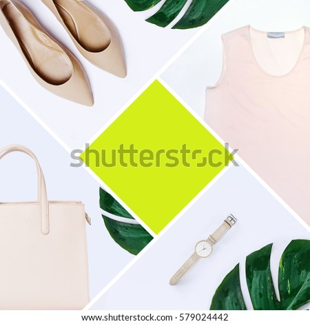 fashion blogger concept. Minimal set of Feminine accessories on white background. #579024442