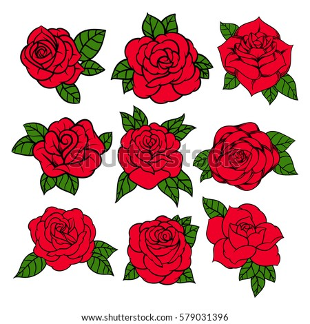 Flowers roses, red buds and green leaves. Set collection. Isolated on white background. Vector illustration.