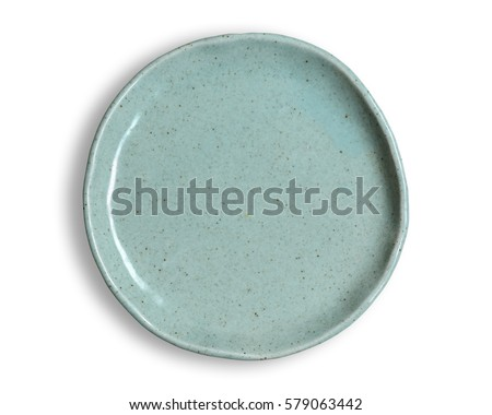 Top view of blank dish isolated on a white background. Royalty-Free Stock Photo #579063442