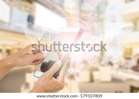 Hand holding tablet computer. shopping online payment #579107809