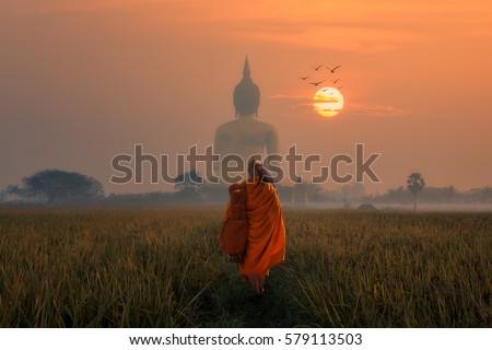 Asia Monk walking dhutanga behind Big Buddha at Wat Muang Angthong, Temple thailand in sunset. Royalty-Free Stock Photo #579113503