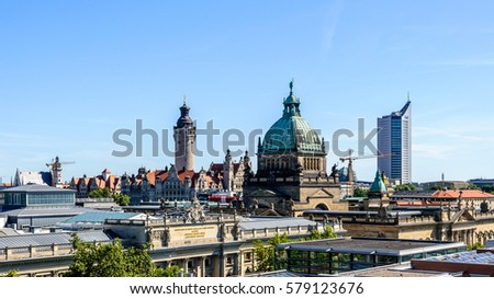 Skyline of Leipzig with townhall and High court #579123676