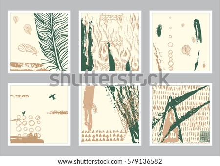 hand drawn set of creative card. Ink grunge design for cover. Isolated brush stroke abstract print. Vintage painted background. #579136582