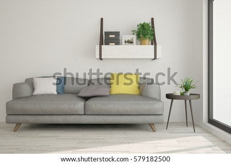 White room with sofa. Scandinavian interior design. 3D illustration #579182500