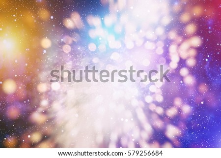 abstract blurred of blue and silver glittering shine bulbs lights background:blur of Christmas wallpaper decorations concept.xmas holiday festival backdrop:sparkle circle lit celebrations display. #579256684