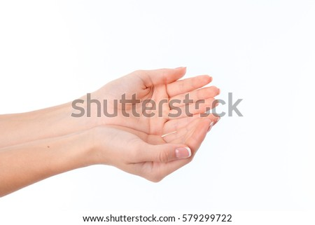 two women's hands with the Palms is isolated on a white background #579299722