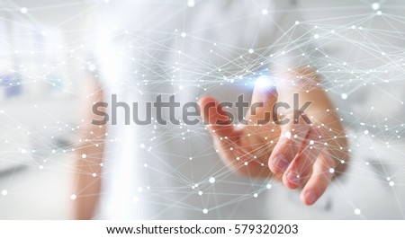 Dot flying network touched by businessman on blurred background 3D rendering #579320203