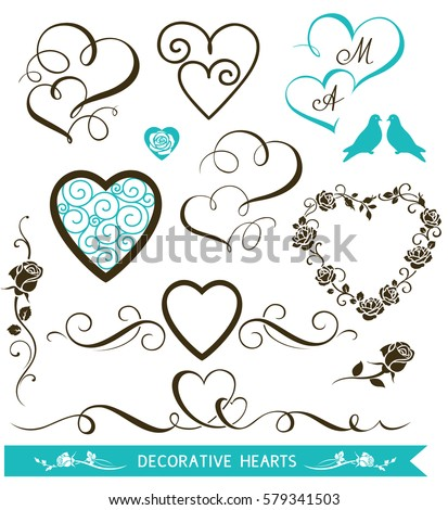 Set of decorative calligraphic hearts for wedding invitation design. Valentine's Day love hearts and floral elements. Vector illustration #579341503