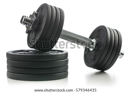 The metal dumbbell and weights isolated on white background. #579346435