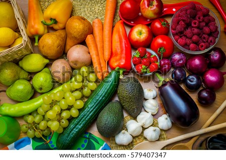 Composition of colorful fruits and vegetables, rainbow color palette, colorful eating concept #579407347
