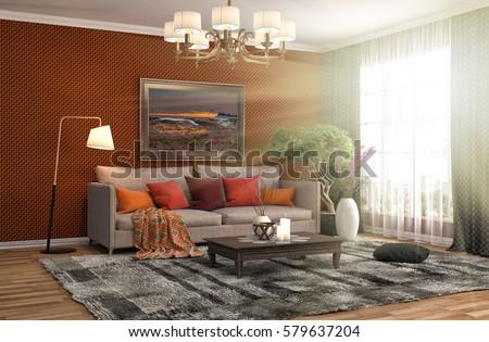 interior with sofa. 3d illustration #579637204