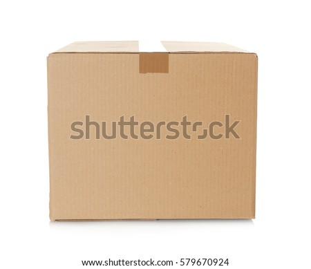 Cardboard box on white background Royalty-Free Stock Photo #579670924