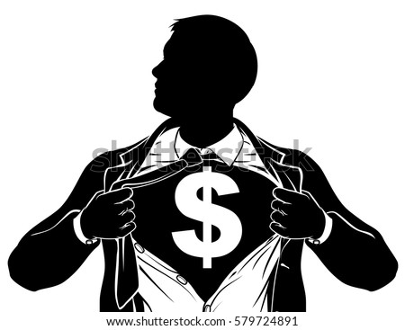 A superhero business man tearing his shirt showing the chest of his costume underneath with a dollar sign