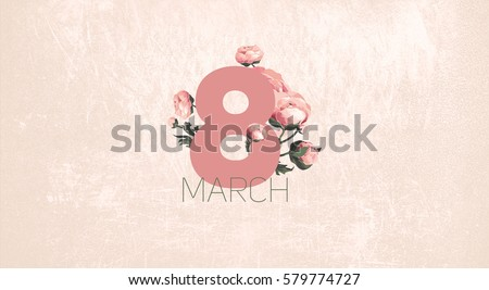 Celebratory bright spring flowers background for Women's Day March 8. Spring holiday flower greeting card illustration