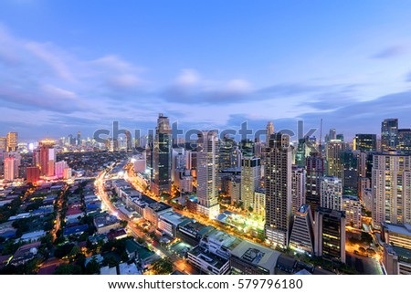 Makati City Skyline at night. Manila, Philippines.  #579796180