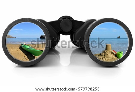 Holiday scene reflected in a pair of binoculars   Royalty-Free Stock Photo #579798253