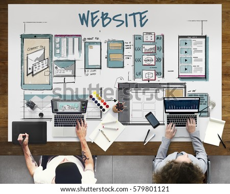 Web template layout draft sketch Royalty-Free Stock Photo #579801121