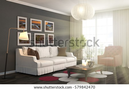 interior with sofa. 3d illustration #579842470