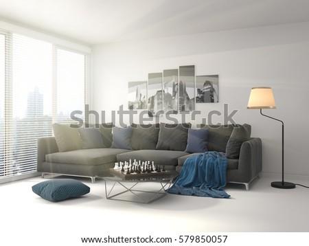 interior with sofa. 3d illustration #579850057