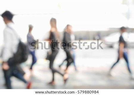 Picture blurred  for background abstract and can be illustration to article of people walking in the street