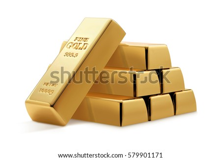 Gold bars isolated on white background. Financial concept. #579901171