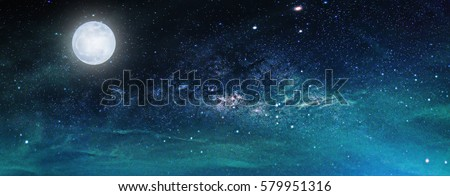 Landscape with Milky way galaxy. Night sky with stars and the full moon. (Elements of this moon image furnished by NASA) #579951316