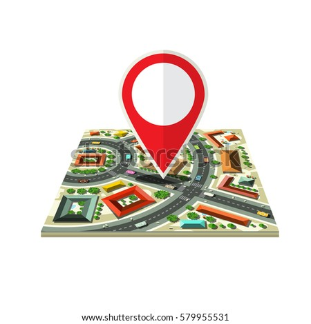 Vector City Map Icon with Red Marker Isolated on White Background #579955531
