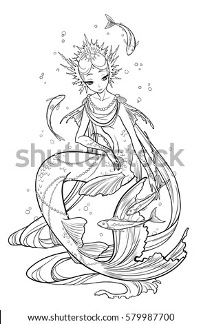 Illustration of pearl mermaid decorated with seashell elements, playing with fishes. Black and white, anti-stress. Adult coloring books. #579987700