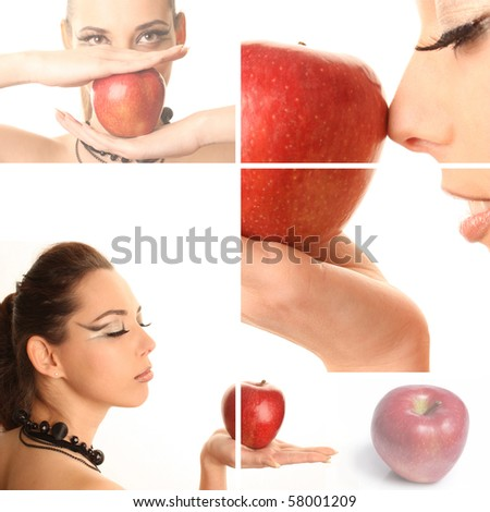 The beautiful woman with bright make-up and red apple #58001209
