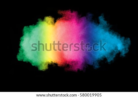 abstract powder splatted background,Freeze motion of color powder exploding/throwing color powder,color glitter texture on black background #580019905