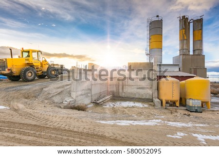 Quarry aggregate with heavy duty machinery. Construction industry. Horizontal #580052095