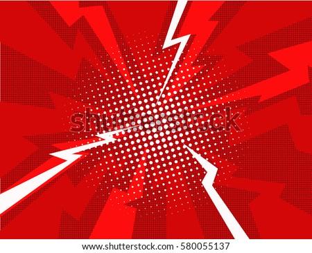 Red lightning explosion pop art comic style background