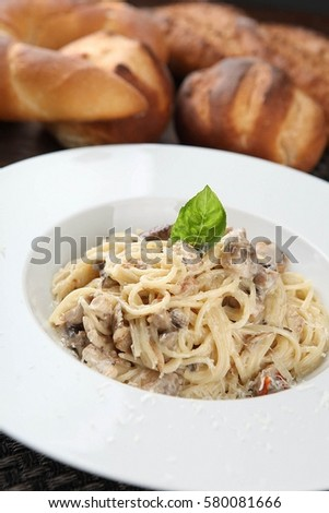 Mushroom cream Pasta on table  #580081666