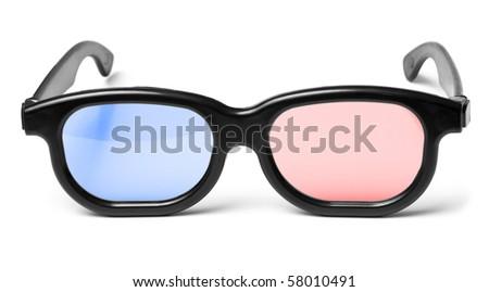 Blue red 3D cinema glasses