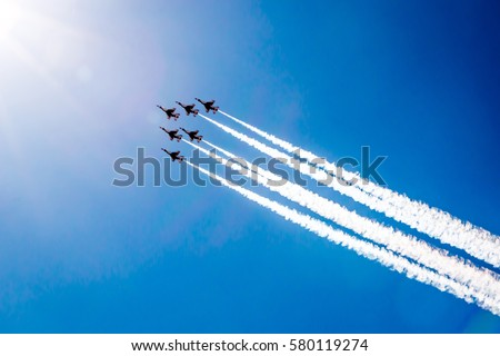 Air show Royalty-Free Stock Photo #580119274
