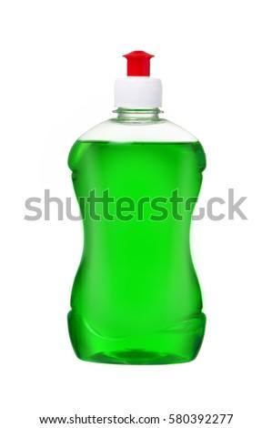 Dishwashing liquid detergent in plastic bottle isolated on white background. Green color dishwashing liquid Royalty-Free Stock Photo #580392277