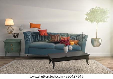 Zero Gravity Sofa hovering in living room. 3D Illustration #580429843