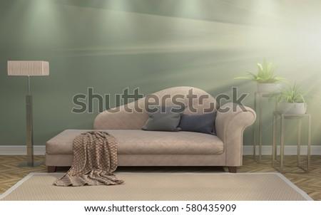 interior with sofa. 3d illustration #580435909