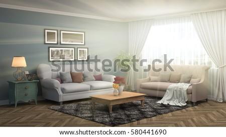 interior with sofa. 3d illustration #580441690